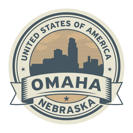 Stamp or label with name of Omaha, Nebraska, USA, vector illustration. Çizim