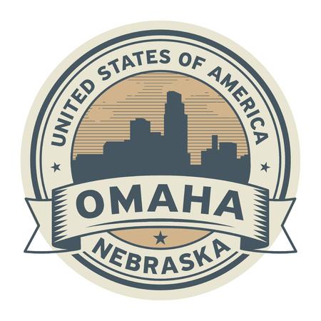 Stamp or label with name of Omaha, Nebraska, USA, vector illustration. Vettoriali