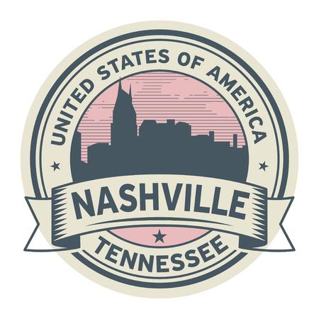 Stamp or label with name of Nashville, Tennessee, USA, vector illustration. Illustration
