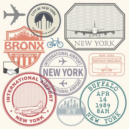 Retro postage USA airport stamps set New York state theme, vector illustration. Illustration