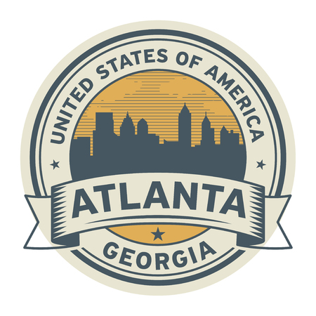 Stamp or label with name of Atlanta, Georgia, USA, vector illustration.