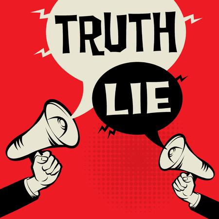 Megafone na mão para um conceito de negócio com a verdade do texto versus mentira, ilustração vetorial