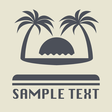 Beach vacation icon or sign, vector illustration
