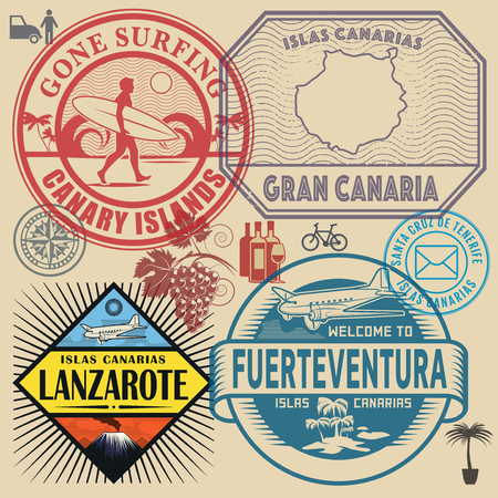 Travel stamps or symbols set Canary Islands theme, vector illustration.