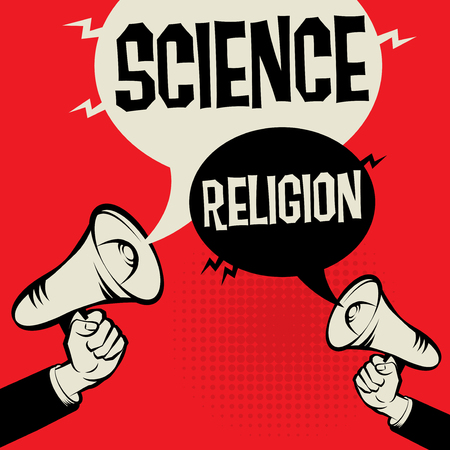 Megaphone Hand business concept with text Science versus Religion, vector illustration.