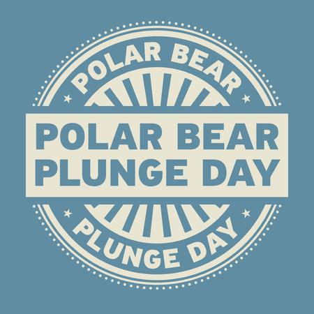 Polar Bear Plunge Day rubber stamp, vector illustration.