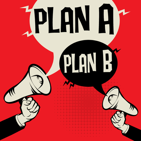 Megaphone hand business concept with text Plan A versus Plan B, vector illustration.