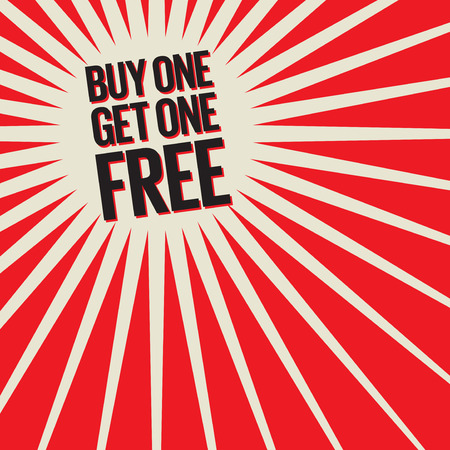 Buy One, Get One Free Poster or Banner Abstract Design, vector illustration Çizim