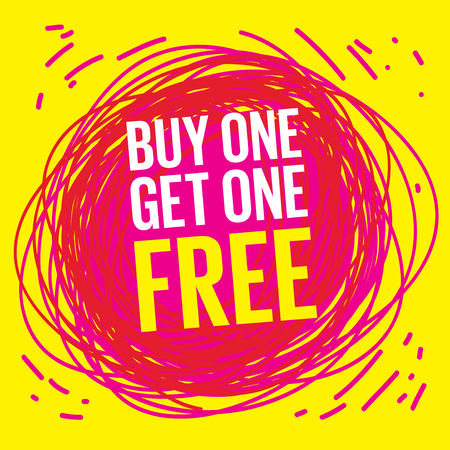 Buy one, get one free poster or banner abstract design, vector illustration. Иллюстрация