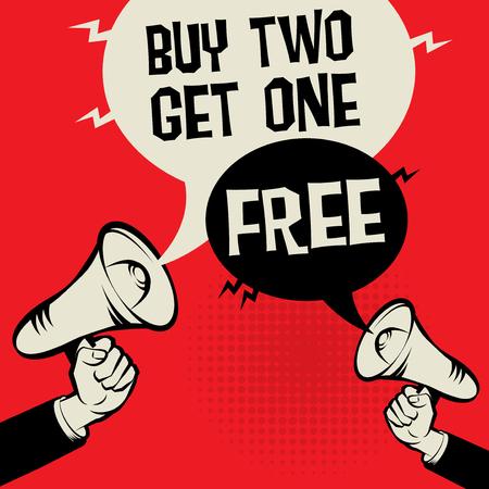 Concept d'affaires de mégaphone main avec texte acheter deux obtenir un gratuit, illustration vectorielle