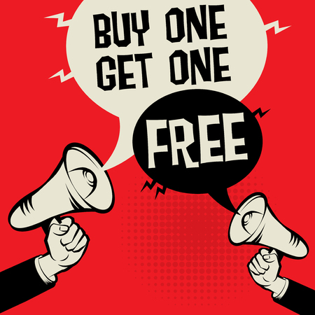 Megaphone Hand business concept with text Buy One Get One Free, vector illustration Stock Illustratie