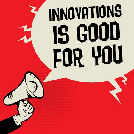 Concept d'affaires de mégaphone main avec texte innovations est bon pour vous, illustration vectorielle Banque d'images - 94718747