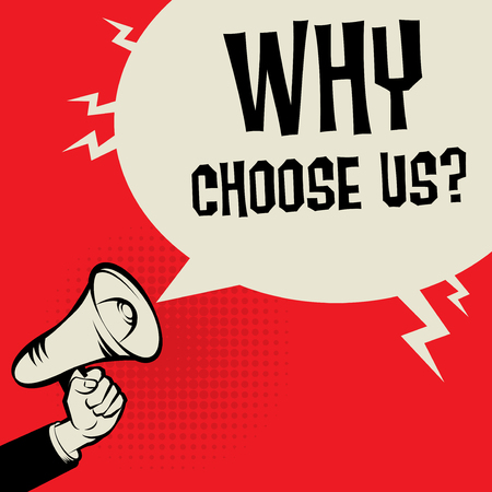 Megaphone Hand business concept with text Why Choose Us?, vector illustration Stock Illustratie