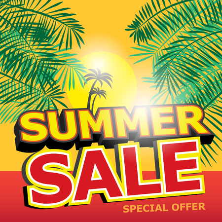 Poster or Banner Abstract Design with text Summer Sale, vector illustration