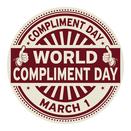 World Compliment Day, March 01, rubber stamp, vector Illustration Çizim