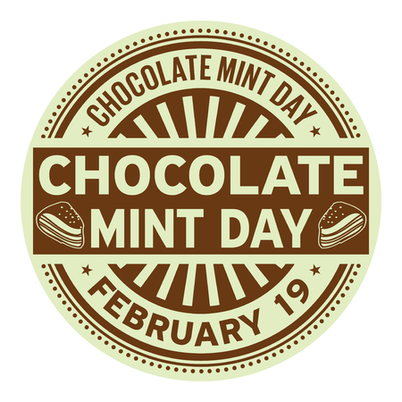 Chocolate Mint Day, February 19, rubber stamp, vector Illustration Stock fotó - 95051299