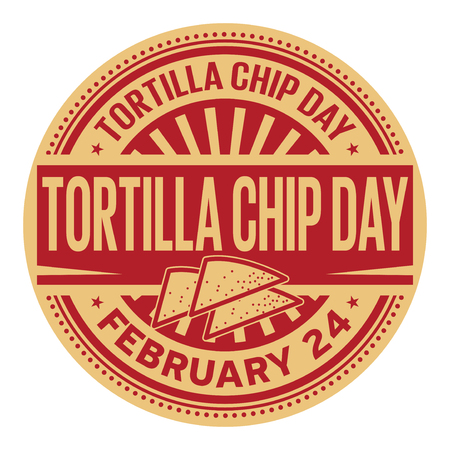 Tortilla Chip Day, February 24, rubber stamp, vector Illustration Çizim