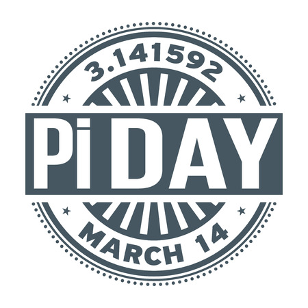 Pi Day, March 14, rubber stamp, vector Illustration