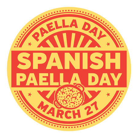 Spanish Paella Day, March 27, rubber stamp, vector Illustration