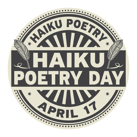 Haiku Poetry Day, April 17, rubber stamp vector Illustration