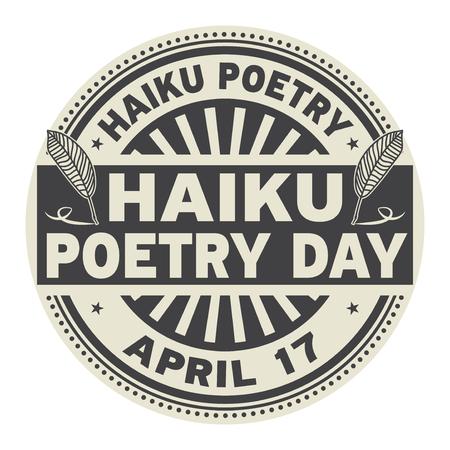 Haiku Poetry Day, April 17, rubber stamp vector Illustration
