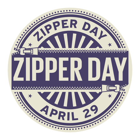 Zipper day, April 29, rubber stamp, vector illustration.