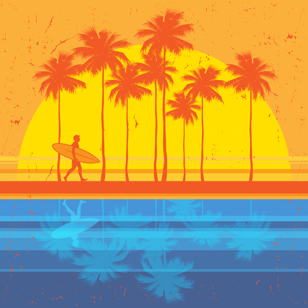 California beach, surfer abstract color poster. Vector illustration.