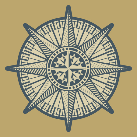 Vintage Compass Rose Sign Or Symbol Vector Illustration