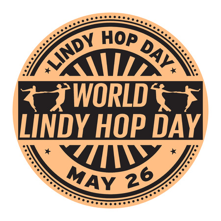 World Lindy Hop Day, May 26, rubber stamp, vector Illustration