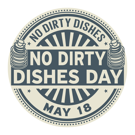 No Dirty Dishes Day, May 18, rubber stamp, vector Illustration 일러스트