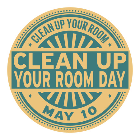 Clean Up Your Room Day, May 10, rubber stamp, vector Illustration