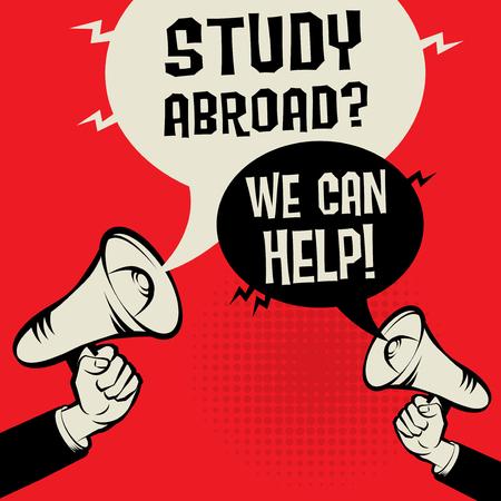 Megafoon Hand bedrijfsconcept met tekst Study Abroad? We kunnen helpen !, vectorillustratie Stock Illustratie