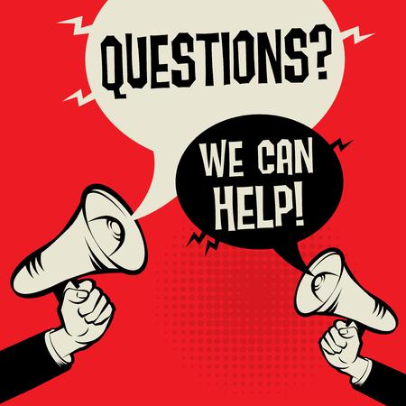Koncepcja biznesowa Megafon w ręku z tekstem Pytania, które możemy pomóc! ilustracji wektorowych Ilustracje wektorowe