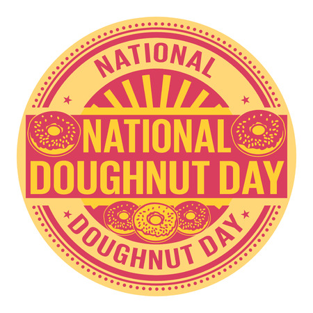 National Donut Day rubber stamp vector Illustration
