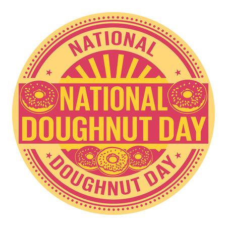 National Donut Day rubber stamp vector Illustration
