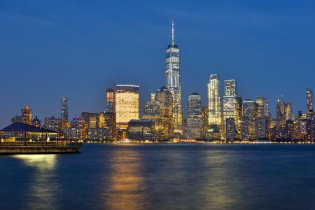 Manhattan Skyline and Hudson river at dusk, New York City, USA