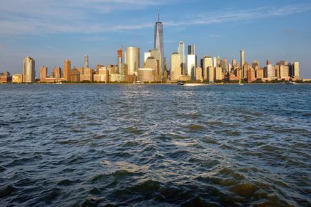 Manhattan Skyline and Hudson river at sunset, New York City, USA