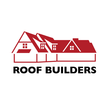 House roof logotype or sign with text Roof Builders. A Minimalist logo for building or industrial company, vector illustration