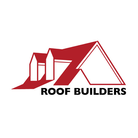 House roof logotype or sign with text Roof Builders. Minimalistic logo for building or industrial company, vector illustration