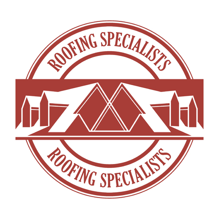 House roof stamp or sign with text Roofing Specialists. Minimalistic sign for building or industrial company, vector illustration Stockfoto - 97058968