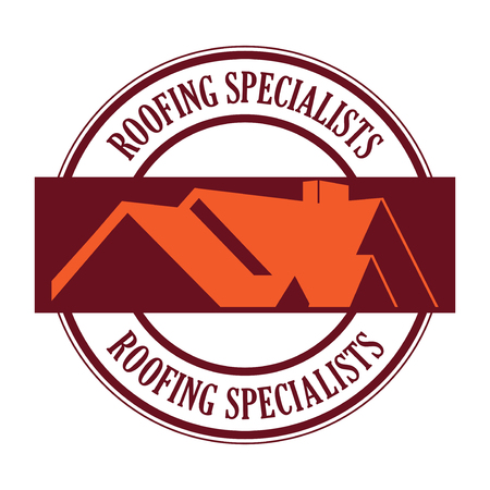 House roof stamp or sign with text Roofing Specialists. Minimalistic sign for building or industrial company, vector illustration