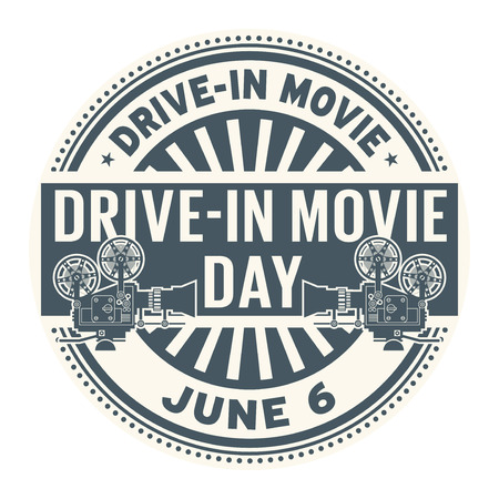 Drive-In Movie Day, June 6, rubber stamp, vector Illustration Vectores