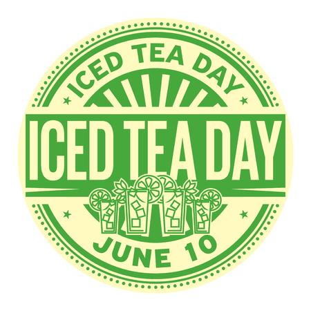 Iced Tea Day, June 10, rubber stamp, vector Illustration