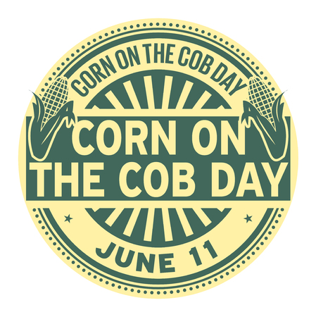Corn on the Cob Day, June 11, rubber stamp, vector Illustration