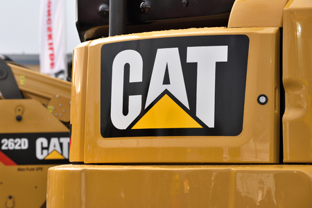 Kaunas, Lithuania - March 23: Caterpillar heavy duty equipment vehicle and logo on March 23, 2018 in Kaunas, Lithuania. Caterpillar is a leading manufacturer of construction equipment.