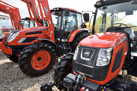 Kaunas, Lithuania - March 23: Kioti tractors on March 23, 2018 in Kaunas, Lithuania. Kioti Tractors the trade name for Daedong tractors in North America and Europe. Editoriali