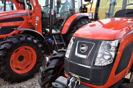Kaunas, Lithuania - March 23: Kioti tractors on March 23, 2018 in Kaunas, Lithuania. Kioti Tractors the trade name for Daedong tractors in North America and Europe. Éditoriale