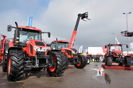 Kaunas, Lithuania - March 23: Zetor tractors on March 23, 2018 in Kaunas, Lithuania. Zetor is a brand of tractors of Czech manufacturer based in Brno Éditoriale