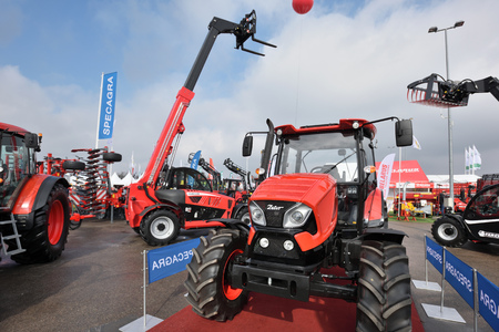 Kaunas, Lithuania - March 23: Zetor tractors on March 23, 2018 in Kaunas, Lithuania. Zetor is a brand of tractors of Czech manufacturer based in Brno Editoriali