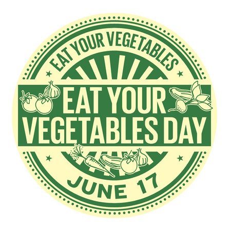 Eat Your Vegetables Day,  June 17, rubber stamp, vector Illustration